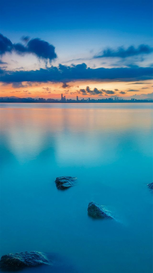 City View River Lake Blue Sunset Nature iPhone 8 wallpaper