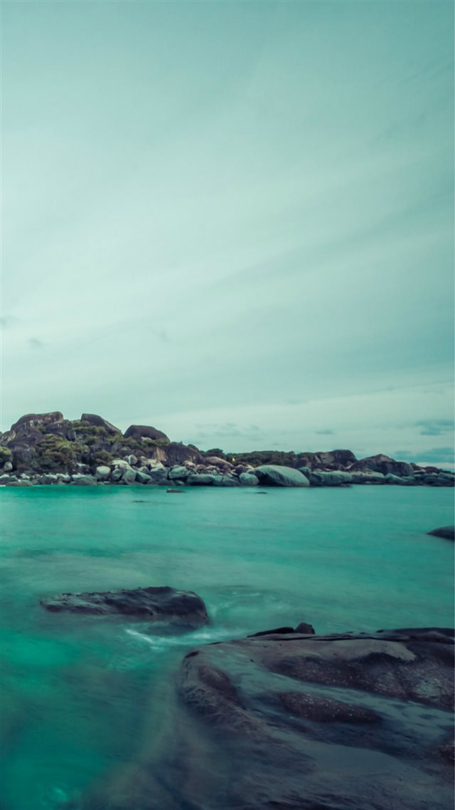 Cyan Island Rock Sea Landscape iPhone 8 wallpaper