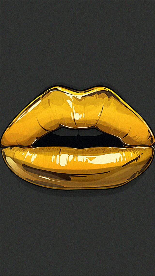 Golden Lips Bling Illustration iPhone 8 wallpaper