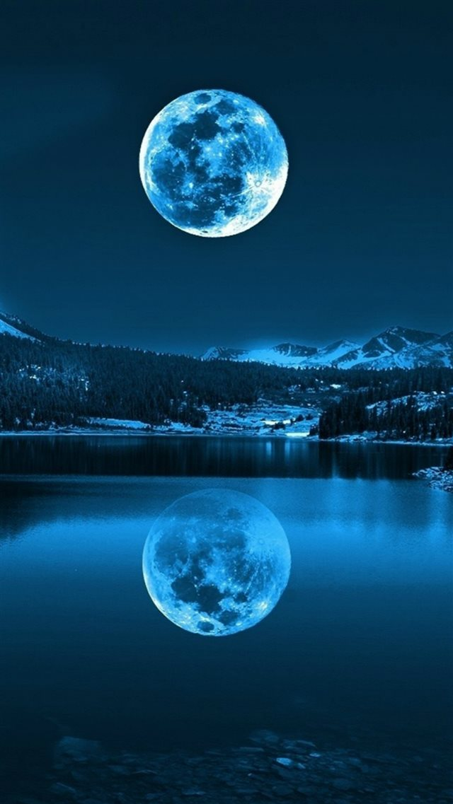 Night Calm Lake Mountains Super Moon Shadow iPhone 8 wallpaper