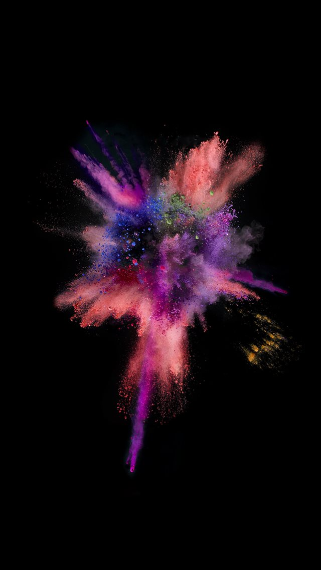 iOS9 Colorful Explosion Smoke Dark iPhone 8 wallpaper