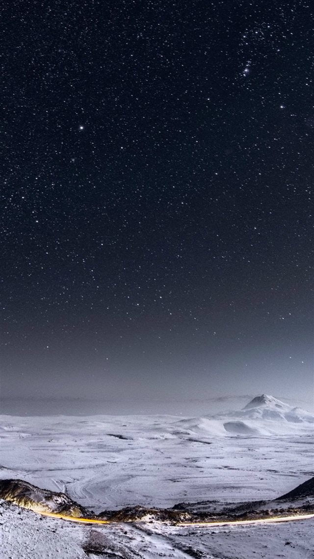 Night Stars Mountain Range Winter Landscape iPhone 8 wallpaper