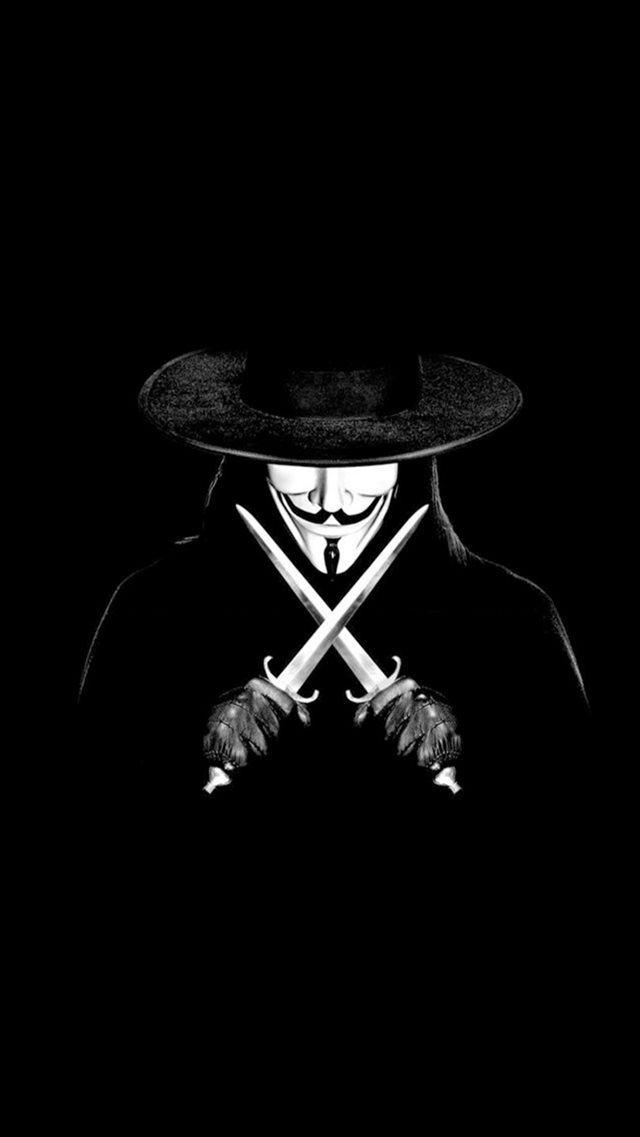 V For Vendetta Man With Knifes iPhone 8 wallpaper