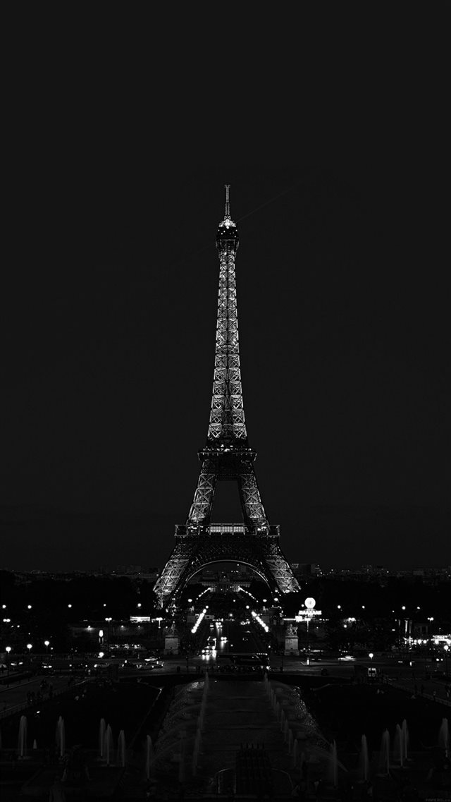 Paris Night France City Dark Eiffel Tower iPhone 8 wallpaper
