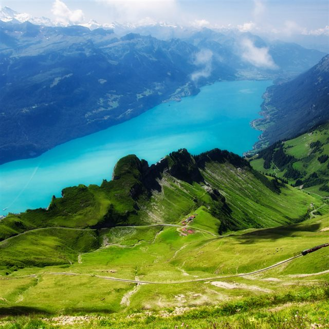 Emerald Green Hill Beautiful Mountains River Magnificent Scenery iPad wallpaper
