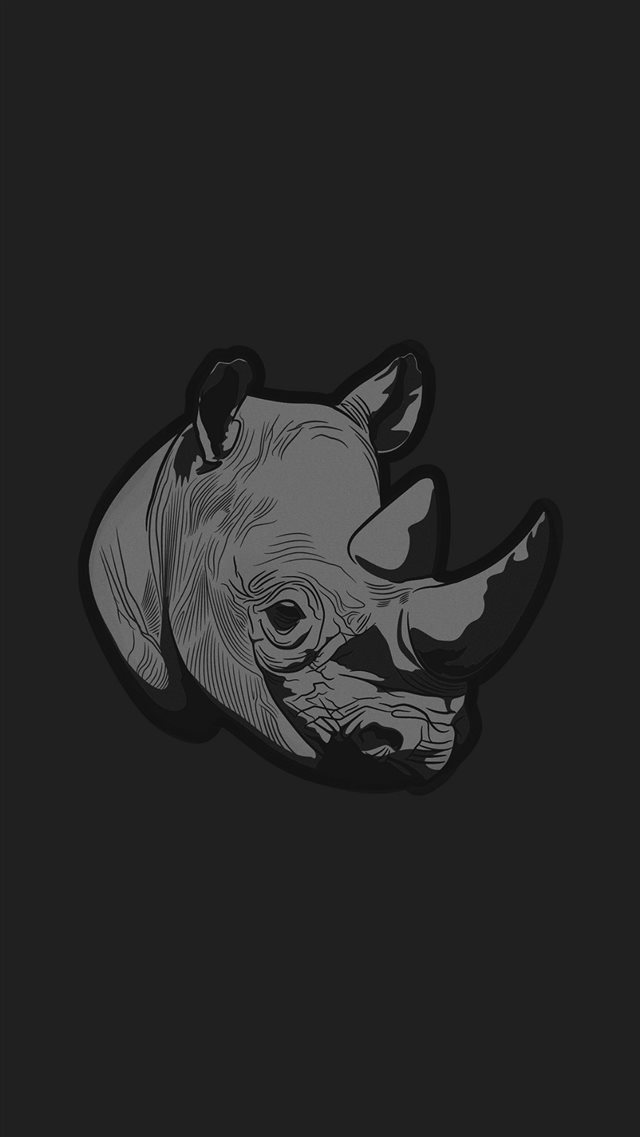 Thoughtful Rhino Dark Minimal Illust Art iPhone 8 wallpaper