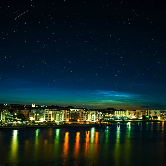 Aalborg Night Scene From Sea Dark Cityscape iPad wallpaper
