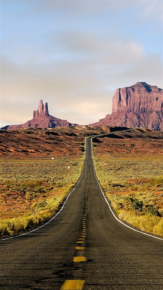 Nature Wild Vast Mountains Field Long Road iPhone 8 wallpaper
