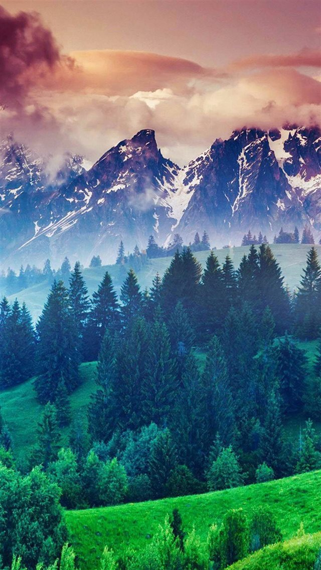 Forest Hills Snowy Mountains And Sunset Clouds iPhone 8 wallpaper