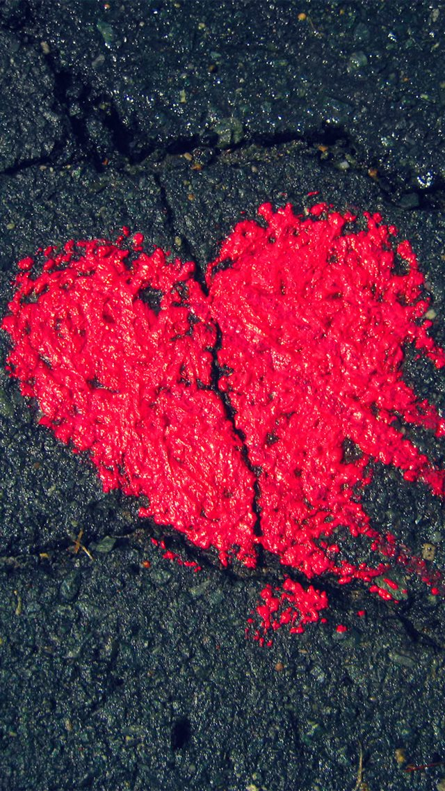 Heart Shape On Asphalt iPhone 8 wallpaper