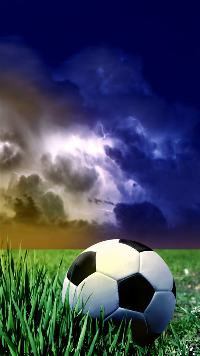 Storm Clouds Sky Grass Land Football Sport iPhone 8 wallpaper
