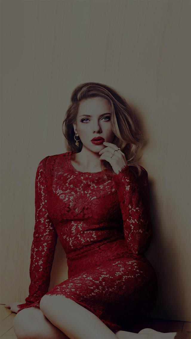 Scarlett Johansson Dark Celebrity Sexy Red Dress iPhone 8 wallpaper