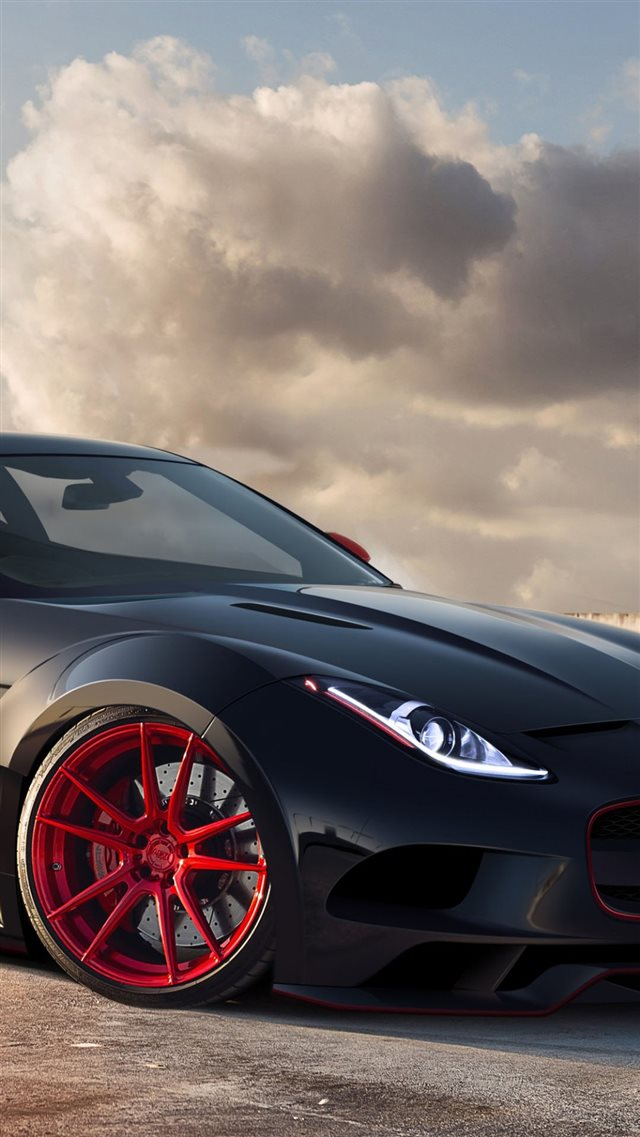 Jaguar C X16 Black Red Rims iPhone 8 wallpaper
