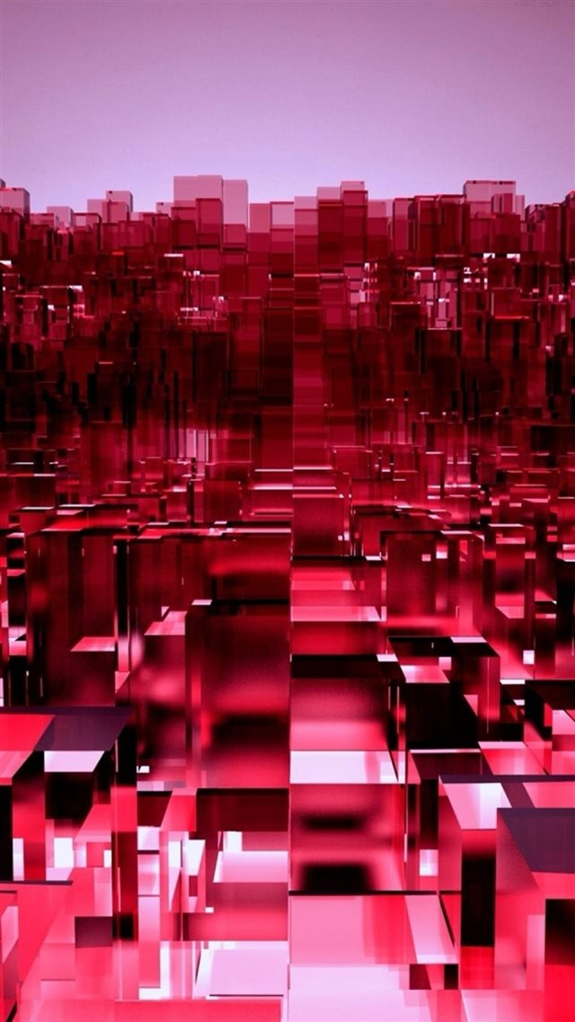 Abstract 3D Overlap Cubes Red Pattern iPhone 8 wallpaper