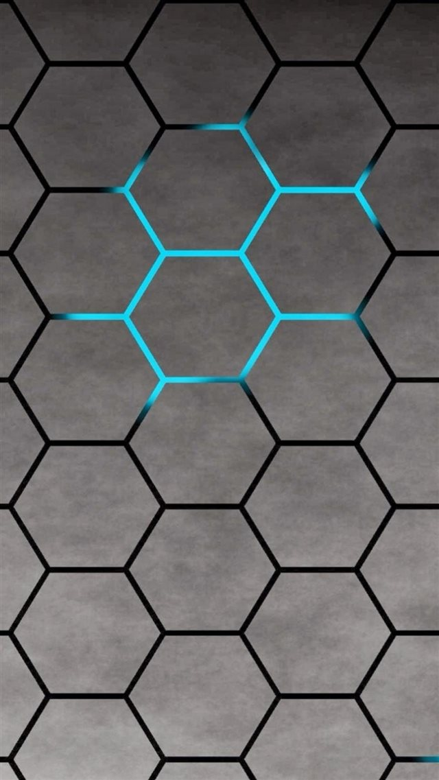 3D Blue Shiny Light Honey Comb Pattern Abstract Background iPhone 8 wallpaper