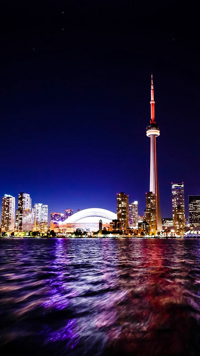 Toronto Lake Canada City Night View iPhone 8 wallpaper