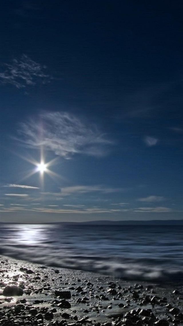 Shining Moon Over Sea iPhone 8 wallpaper