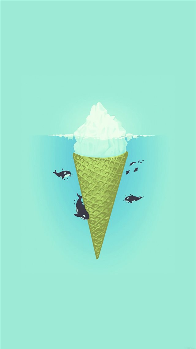 Whale Illust Green Sea Icecream Iiceberg iPhone 8 wallpaper