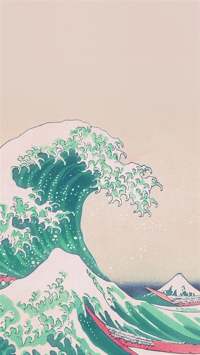 Wave Art Japanese Green Illust Classic iPhone 8 wallpaper