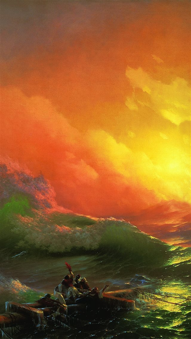 Classic The Ninth Wave 1850 Art Illust iPhone 8 wallpaper