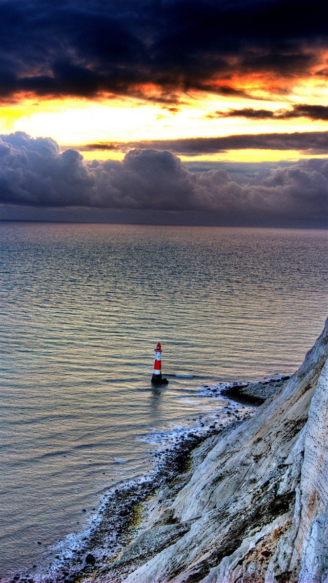 Sea Lighthouse Rock Sunset iPhone 8 wallpaper