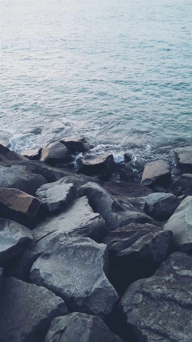 Nature Shore Rocky Stone Seaside iPhone 8 wallpaper
