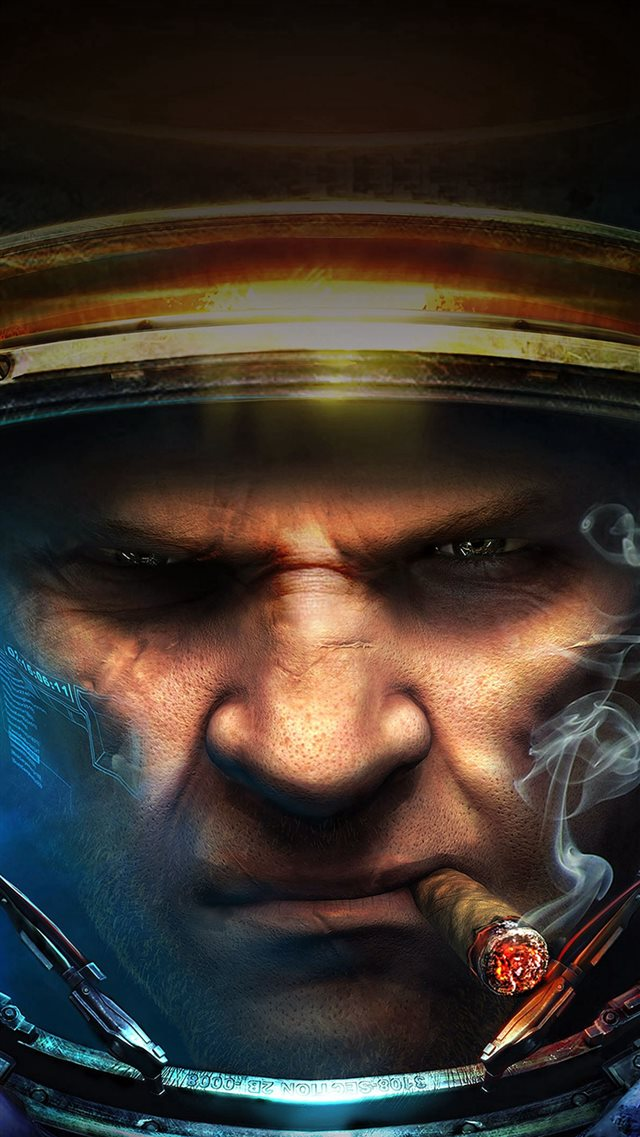 Starcraft Face Close Up Art iPhone 8 wallpaper