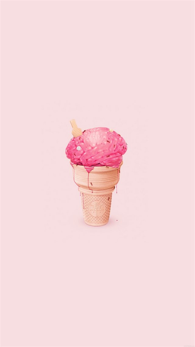 Brain Icecream Illust Art Cute Pink iPhone 8 wallpaper
