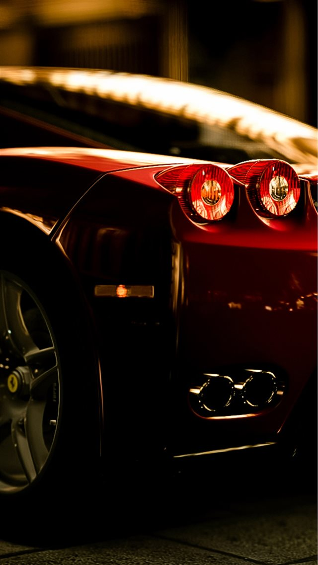 Ferrari Rear Lights View iPhone 8 wallpaper