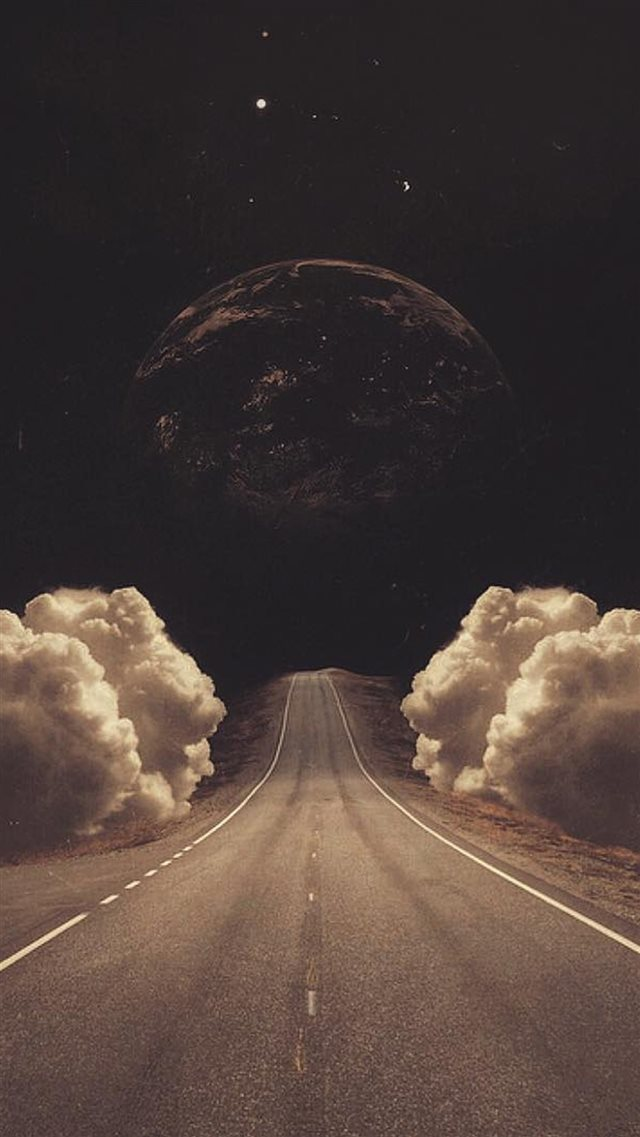 Surreal Art Collage Road Clouds Planet iPhone 8 wallpaper