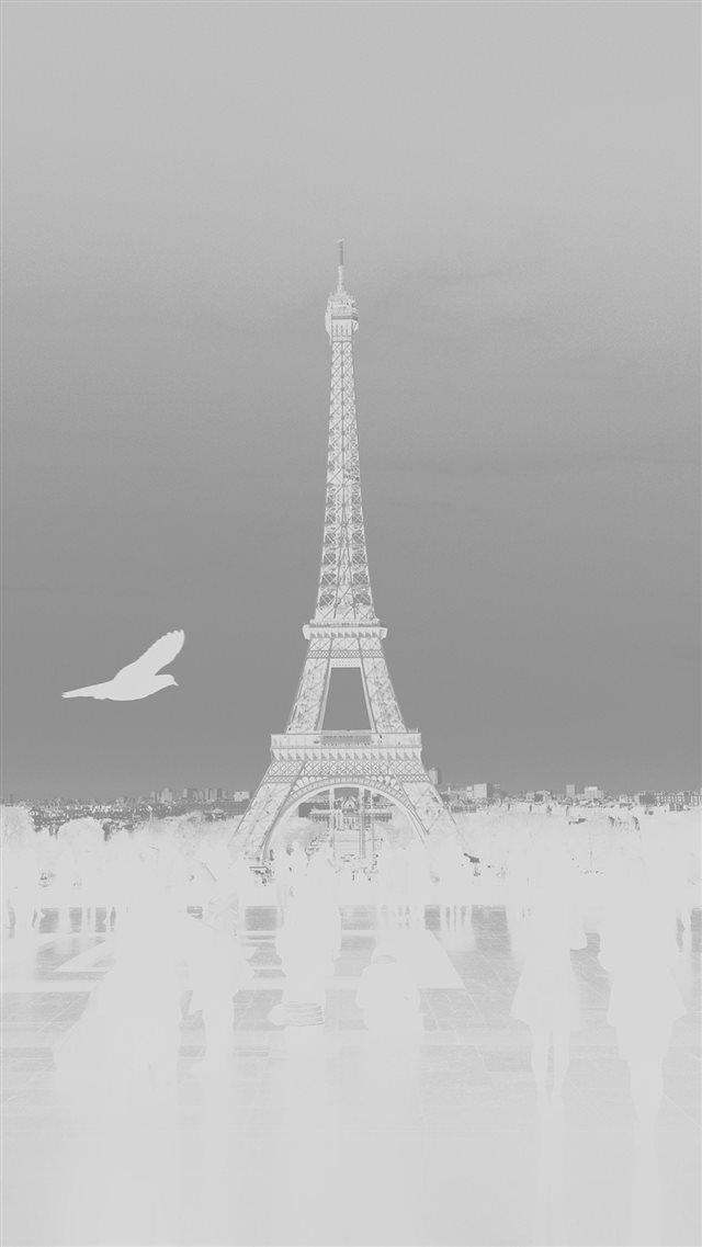 Paris Eiffel Tower Tour Dark Bird France White iPhone 8 wallpaper