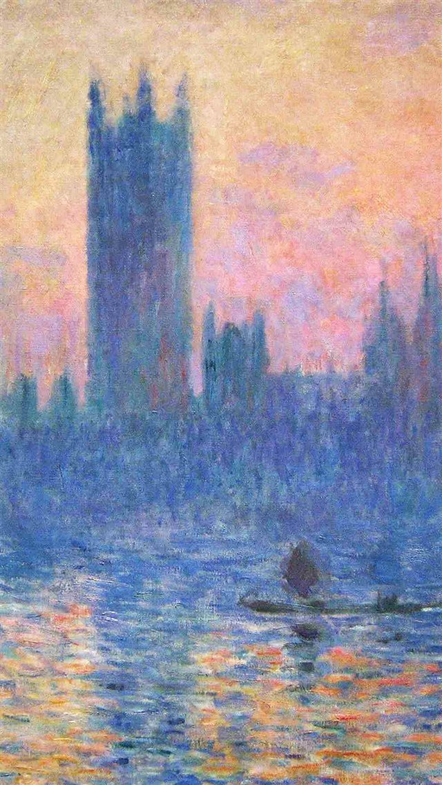 Claude Monet Classic Painting Art Sunset Pattern iPhone 8 wallpaper