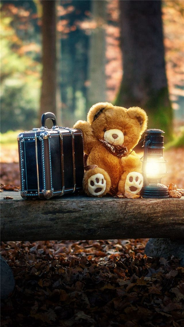 Forest Cute Bear Suitcase Lovely iPhone 8 wallpaper