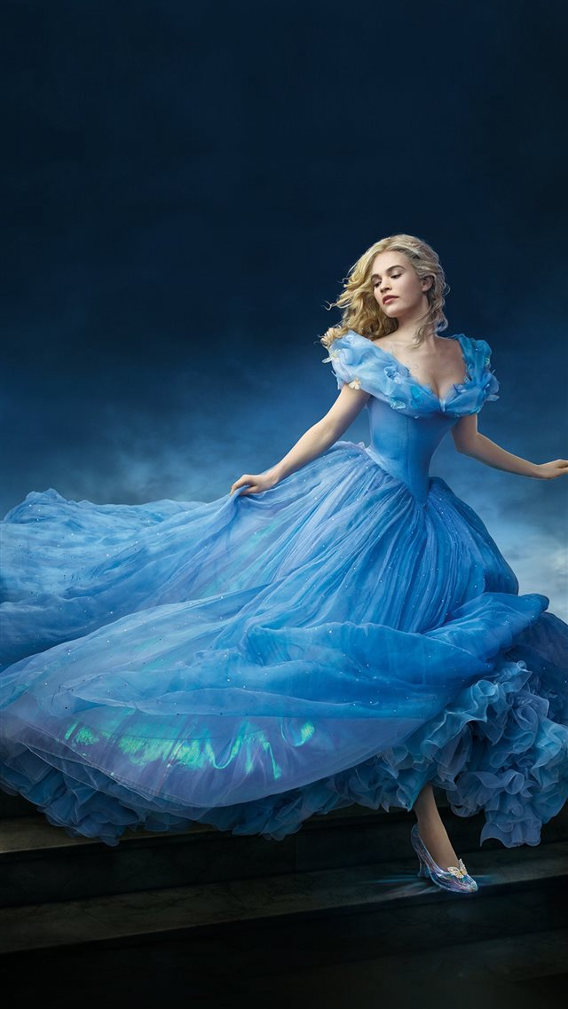 Cinderella Dress Blue Art iPhone 8 wallpaper