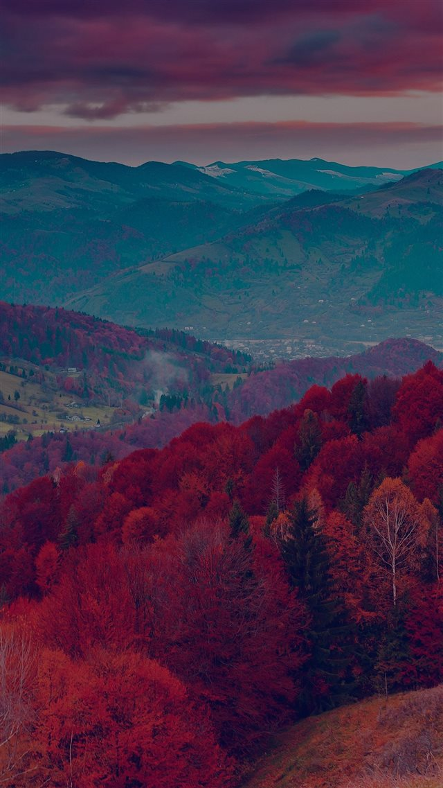 Fall Mountain Fun Red Tree Nature Dark Beautiful iPhone 8 wallpaper