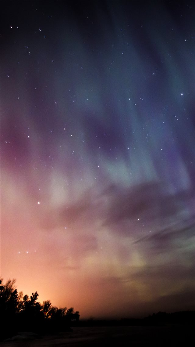 Sky Aurora Night Stars Wonderful iPhone 8 wallpaper