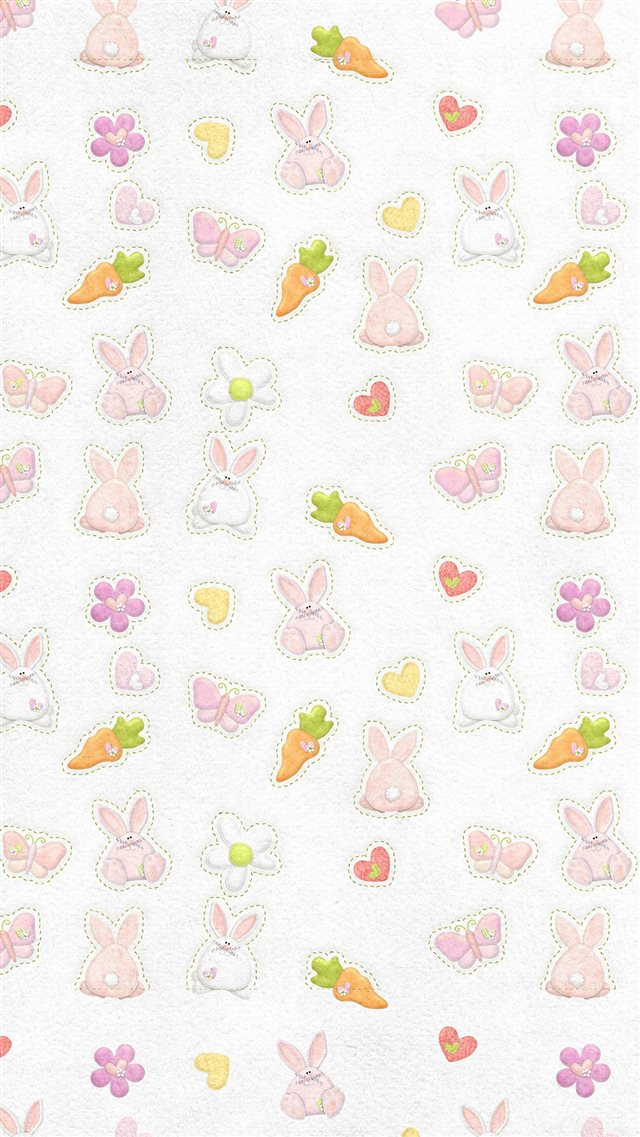 Cute Rabbit Chracter Pattern iPhone 8 wallpaper