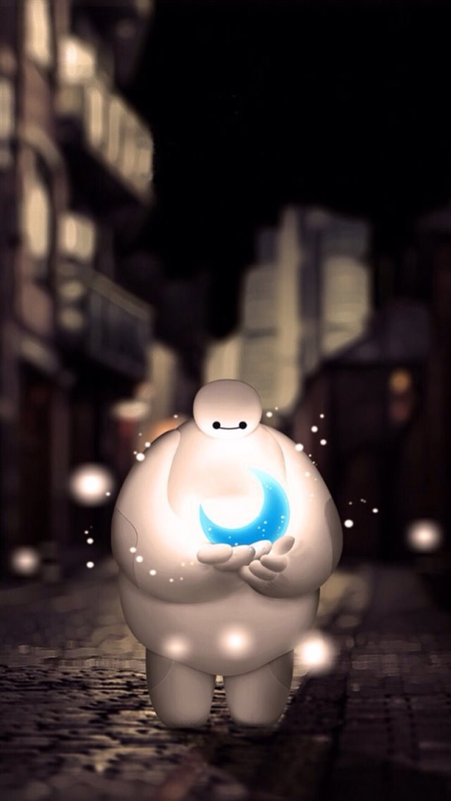 Baymax Holding Moon Dreamy Bokeh iPhone 8 wallpaper