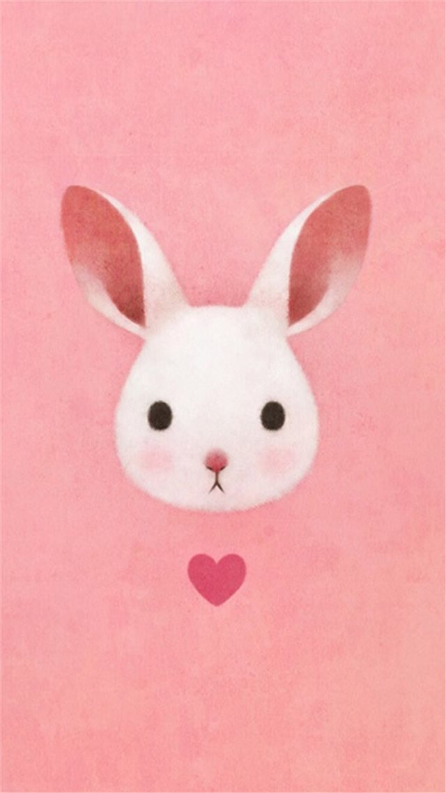 Cute Lovely Pink Rabbit Drawing Art iPhone 8 wallpaper