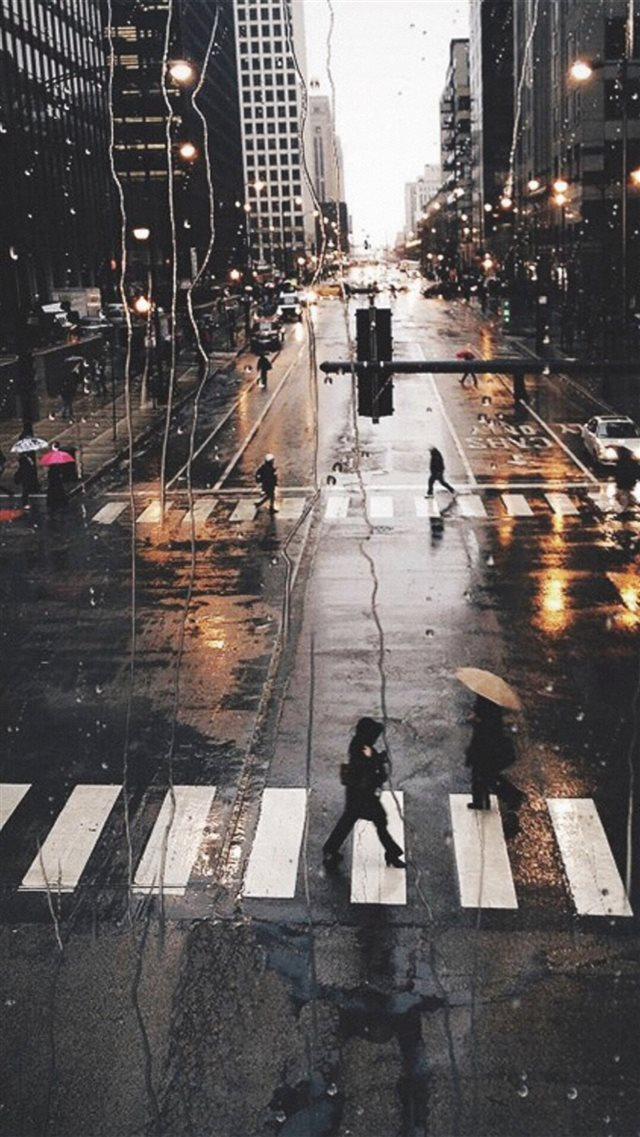 Rainy City View Outside Window Glass Street View iPhone 8 wallpaper
