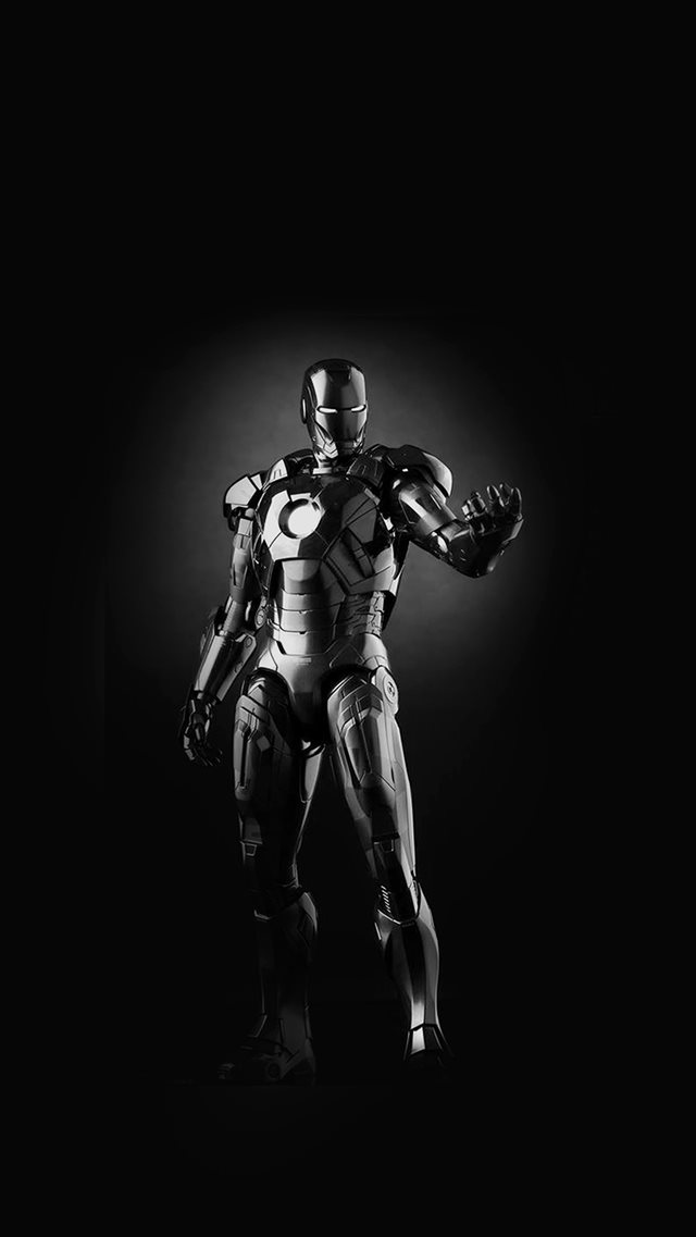 Ironman Dark Figure Hero Art Avengers Bw iPhone 8 wallpaper