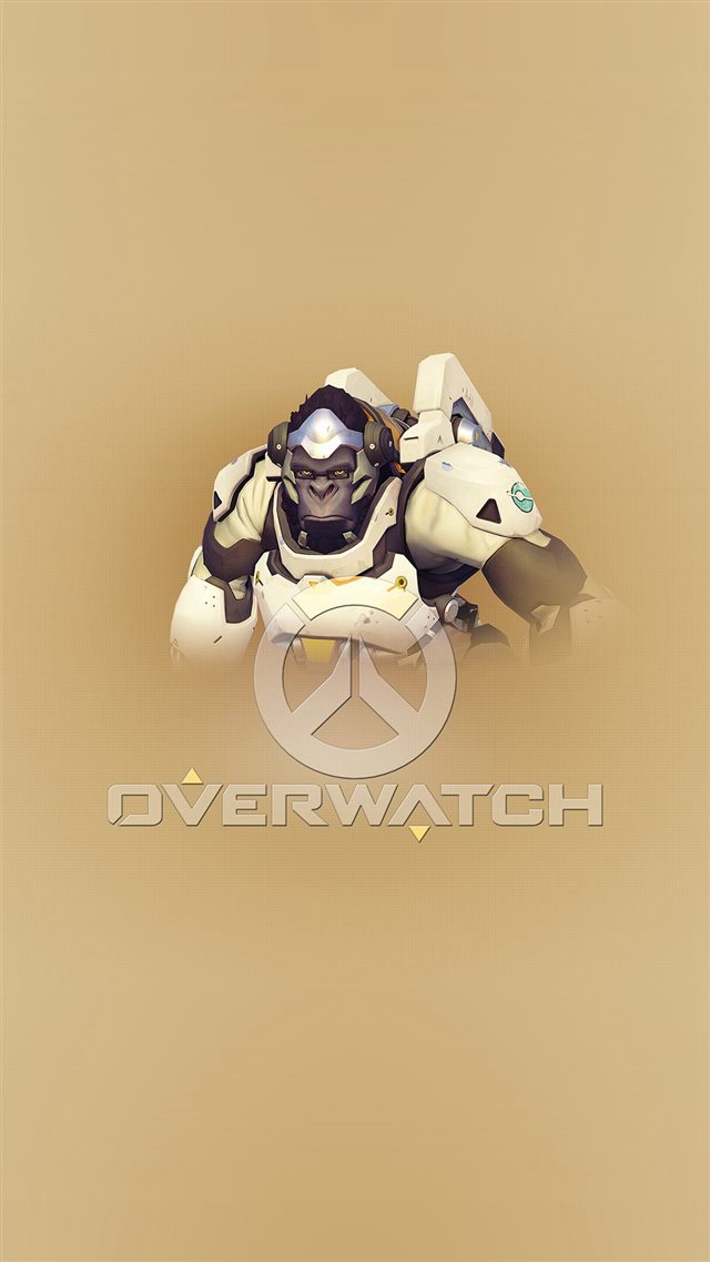 Overwatch Winston Cute Game Art Illustration iPhone 8 wallpaper