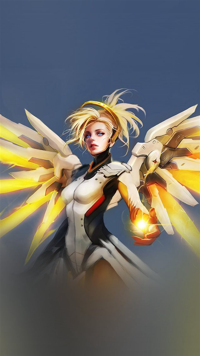 Overwatch Mercy Cute Game Art Illustration Angel iPhone 8 wallpaper