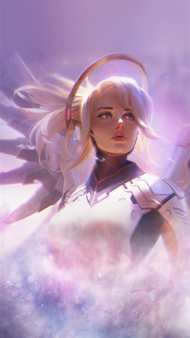 Mercy Overwatch Game Art Illustration iPhone 8 wallpaper