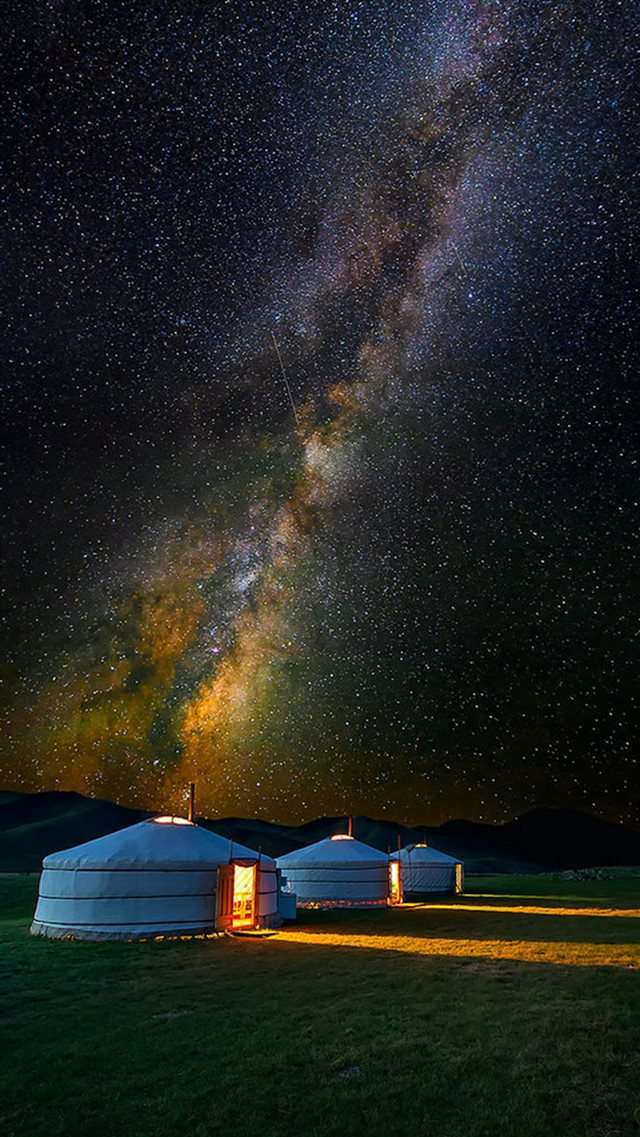 Mongolian Yurt Camp Milky Way Stars iPhone 8 wallpaper