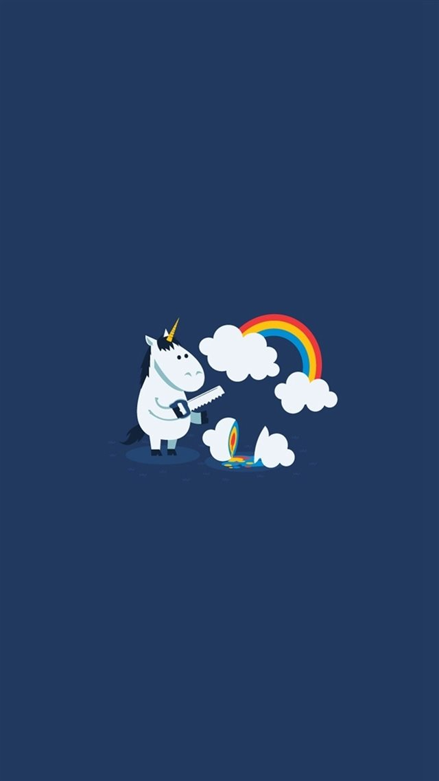 Unicorn Saw Clouds Rainbow Funny iPhone 8 wallpaper