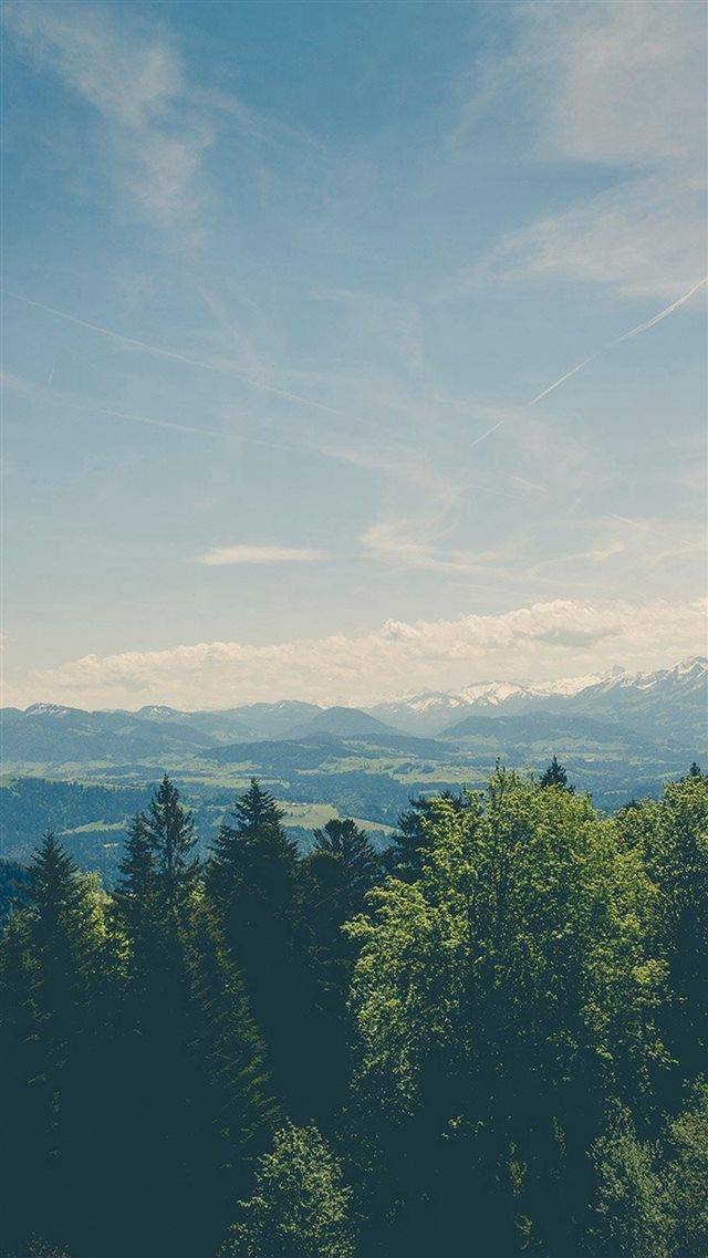 Green Land Sky Blue Summer Nature iPhone 8 wallpaper