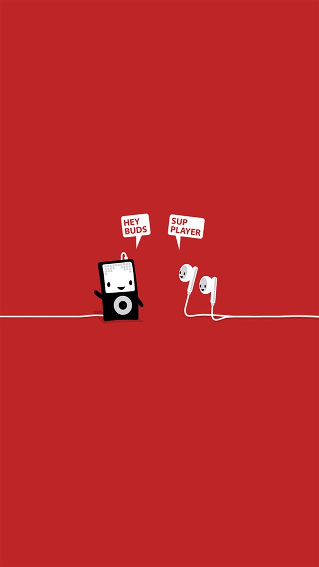 Funny Music Headphones Player Buds iPhone 8 wallpaper