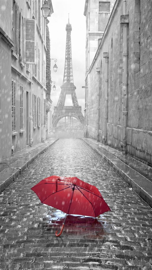Red Umbrella Paris Street Rainy Day Eiffel Tower iPhone 8 wallpaper