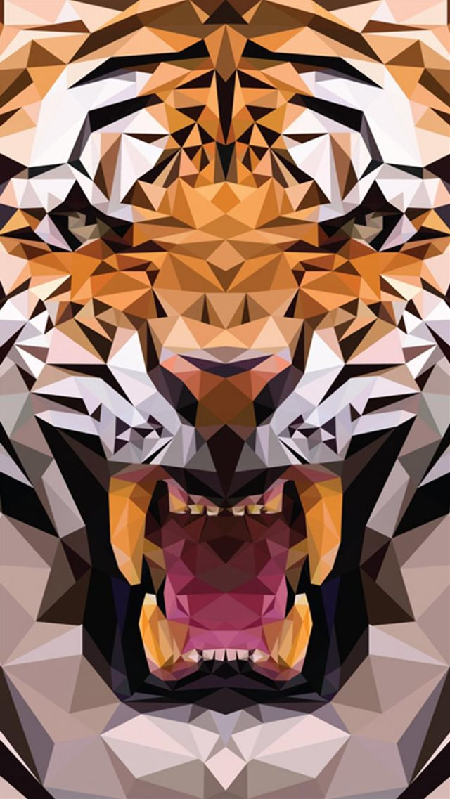 iOS8 Animals Tiger Polygon Pattern Drawn iPhone 8 wallpaper